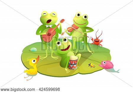 Funny Frogs Concert On The Waterlily, Happy Toads Or Frogs Playing Drums Violin And Guitar On Waterl