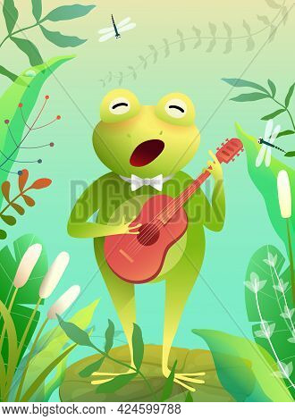 Cute Baby Frog Playing Quitar Or Singing A Song Standing On The Waterlily In A Pond Or Swamp. Musica