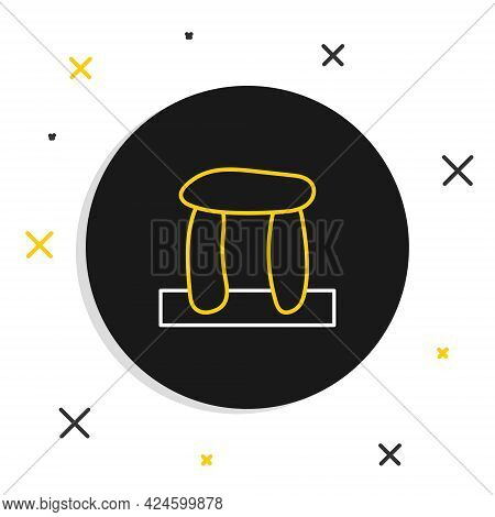 Line Stonehenge Icon Isolated On White Background. Colorful Outline Concept. Vector