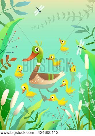 Duck Family, Mom Duckling With Little Yellow Chicks Swimming And Diving On The Pond Or Lake With Gra