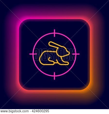 Glowing Neon Line Hunt On Rabbit With Crosshairs Icon Isolated On Black Background. Hunting Club Log