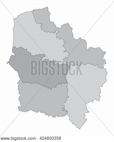 Hauts-de-france Administrative Grayscale Map Isolated On White Background, France