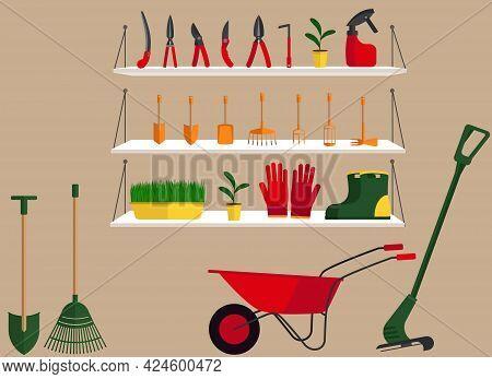 Vector Illustration Of A Gardening Equipment Store With Shelves Where Scissors, Shovels, Rakes, Hoes