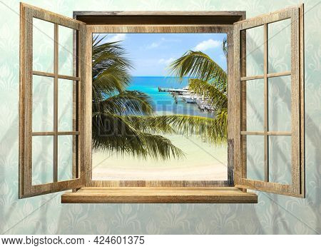 View of ocean through window. Sea view room. Travel, resort, vacation and holiday concept. Beautiful tropical sea view at window in resort. 3d render