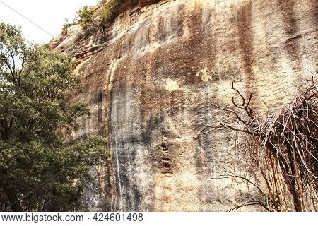 Mountain Wall With Colorful Streaks In The Sierra Of Alcaraz, Castile-la Mancha Community, Spain