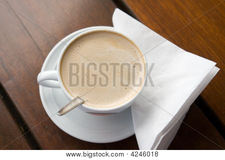 Flat White Coffee On Table