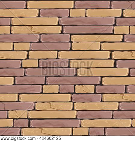 Brick Wall Vector Seamless Pattern, Red And Brown Stone Tile Texture, Cracked Ancient Rock Backgroun