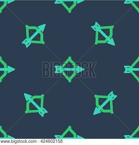 Line Medieval Bow And Arrow Icon Isolated Seamless Pattern On Blue Background. Medieval Weapon. Vect