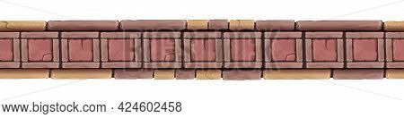 Mosaic Stone Seamless Border, Vector Geometric Square Tile, Ancient Ceramic Architecture Frame. Abst