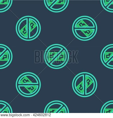 Line No Money Icon Isolated Seamless Pattern On Blue Background. Prohibition Of Money. Vector