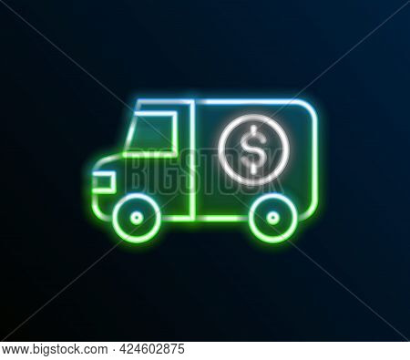 Glowing Neon Line Armored Truck Icon Isolated On Black Background. Colorful Outline Concept. Vector