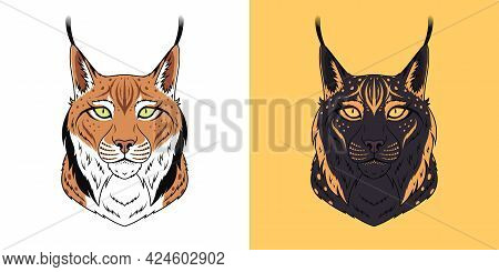 Brown And Black Lynx Head With Green And Golden Eyes, Isolated Lynx Face. Predatory Bobcat. Lynx Sil