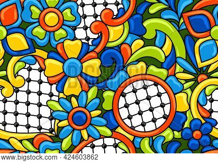 Mexican Talavera Seamless Pattern. Decorative Background With Ornamental Flowers. Background With Me