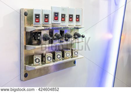 Push Button Switch On Off And Mono Level Switch With Timer Of System Electric Control System For Man
