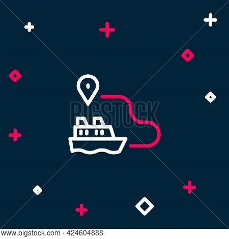 Line Ship Line Path Of Ship Sea Route With Start Point Gps And Black Line Icon Isolated On Blue Back