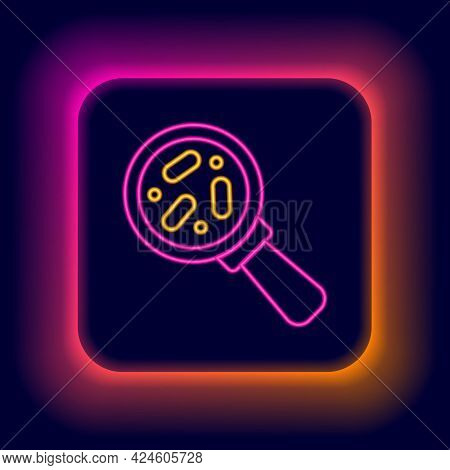 Glowing Neon Line Microorganisms Under Magnifier Icon Isolated On Black Background. Bacteria And Ger