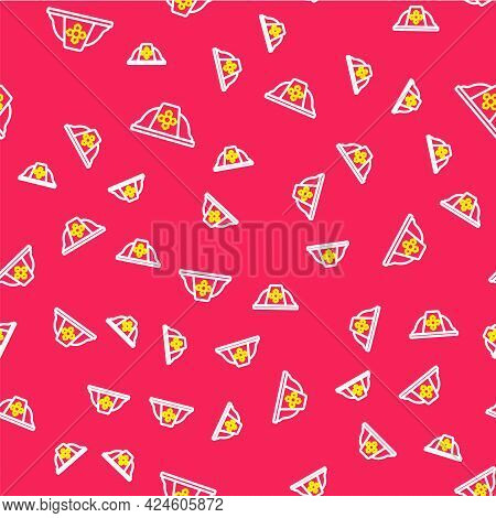 Line Firefighter Helmet Or Fireman Hat Icon Isolated Seamless Pattern On Red Background. Vector