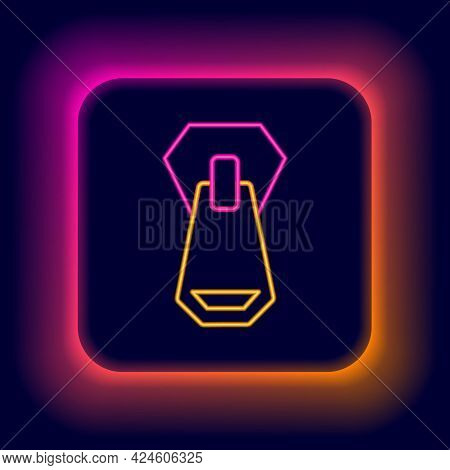 Glowing Neon Line Zipper Icon Isolated On Black Background. Colorful Outline Concept. Vector