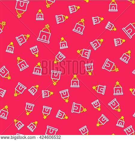 Line Old Crypt Icon Isolated Seamless Pattern On Red Background. Cemetery Symbol. Ossuary Or Crypt F