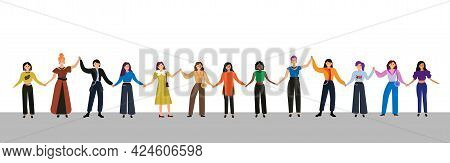 People Hold Hands Banner. Group Of Young Fashion Women Activists Standing Together And Holding Hands