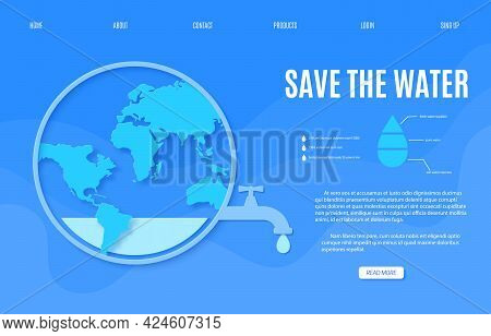 Web Page Save The Water Banner Design Template In Paper Cut Style. Outline Circle With Faucet Tap Wi