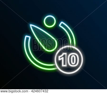 Glowing Neon Line Camera Timer Icon Isolated On Black Background. Photo Exposure. Stopwatch Timer 10