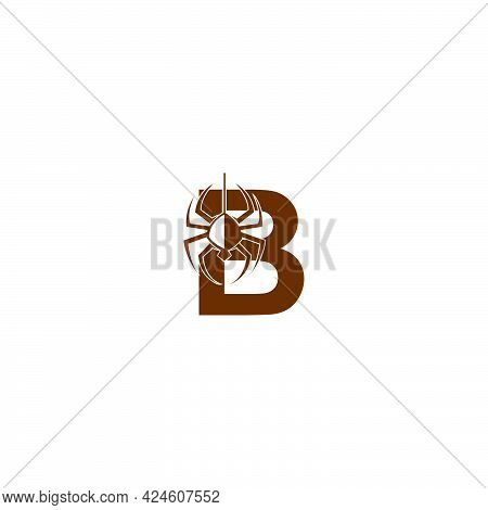 Letter B With Spider Icon Logo Design Template Vector