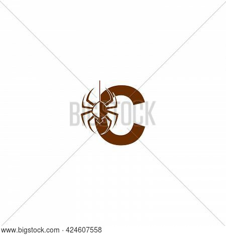 Letter C With Spider Icon Logo Design Template Vector