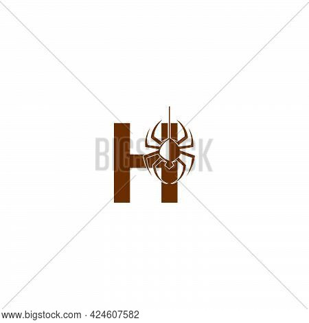 Letter H With Spider Icon Logo Design Template Vector