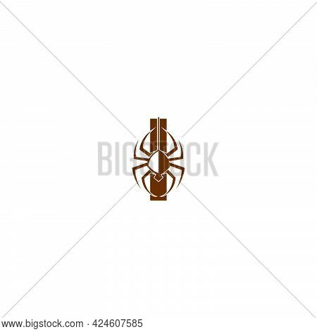 Letter I With Spider Icon Logo Design Template Vector
