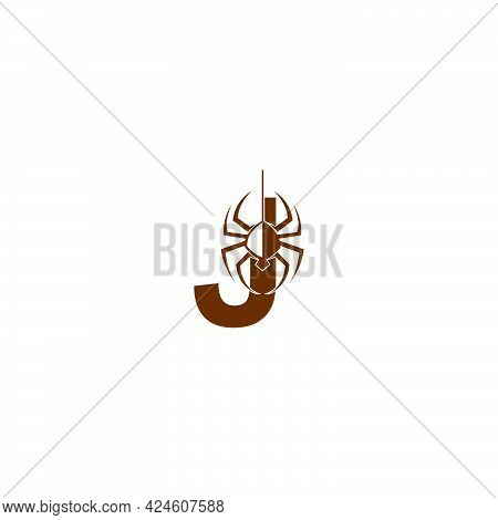 Letter J With Spider Icon Logo Design Template Vector