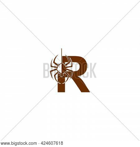 Letter R With Spider Icon Logo Design Template Vector