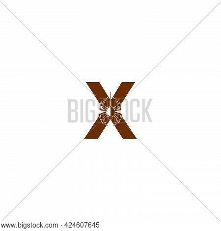 Letter X With Spider Icon Logo Design Template Vector