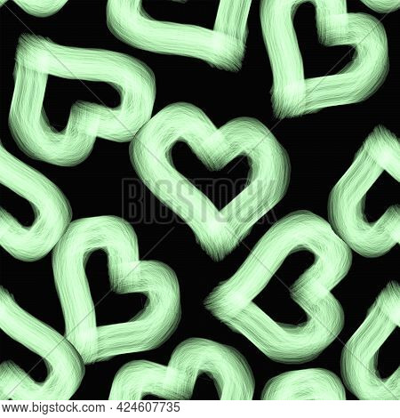 Hearts Made Of Light-colored Led Luminous Threads On A Black Background Pattern Seamless