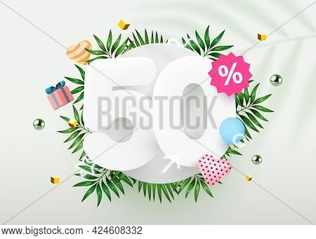 50 Percent Off. Discount Creative Composition. Summer Sale Banner With Decorative Objects, Palm Leav