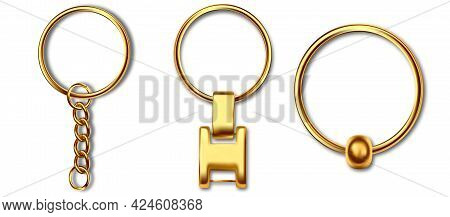 Gold Metal Keyring , Leather Keychain, Holder Trinket For Key With Metal Ring. Silver Colored Access