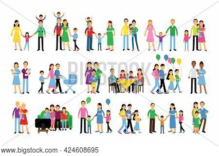 Family Members Walking And Spending Time Together Vector Illustration Set