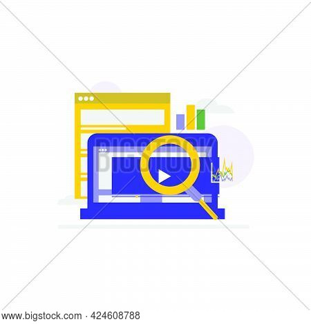 Flat Illustration Design Customer Search Insight On White Background