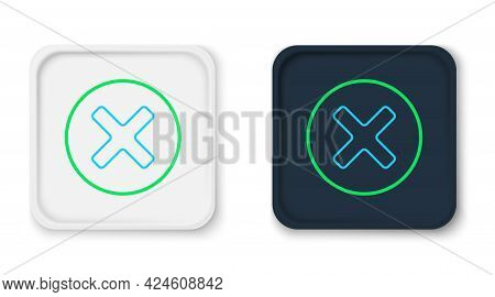 Line X Mark, Cross In Circle Icon Isolated On White Background. Check Cross Mark Icon. Colorful Outl