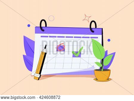 Calendar Icon With Check Sign. 3d Web Vector Illustrations. Business Agenda, Time Management Concept