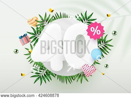 40 Percent Off. Discount Creative Composition. Summer Sale Banner With Decorative Objects, Palm Leav