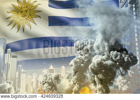 Big Smoke Pillar With Fire In Abstract City - Concept Of Industrial Disaster Or Terrorist Act On Uru