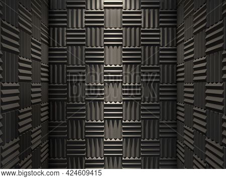 Acoustic Foam Walls Illuminated By Light From The Top. 3d Rendering