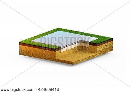 Slab-on-grade Base - Isolated Cgi Industrial 3d Illustration