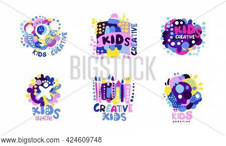 Kids Creative Logo Design Set, Children Creative, Science Class Colorful Labels Cartoon Vector Illus