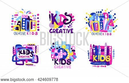 Creative Kids Logo Design Set, Children Creative, Science Class, Education Colorful Labels Cartoon V