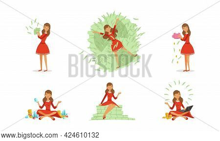 Happy Successful Young Woman Millionaire Enjoying Her Money Set, Happy Wealthy Girl With Bundles Of