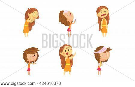 Sick Girl Set, Female Person Suffering From Fever, Rash, Headache, Toothache Cartoon Vector Illustra