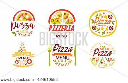 Pizza Menu Premium Logo Design Set, Pizzeria, Restaurant, Cafe, Delivery Service Labels Cartoon Vect