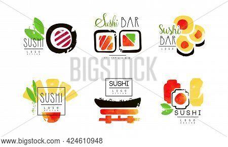 Sushi Logo Design Set, Japanese Food Bar, Restaurant, Delivery Service Labels Vector Illustration